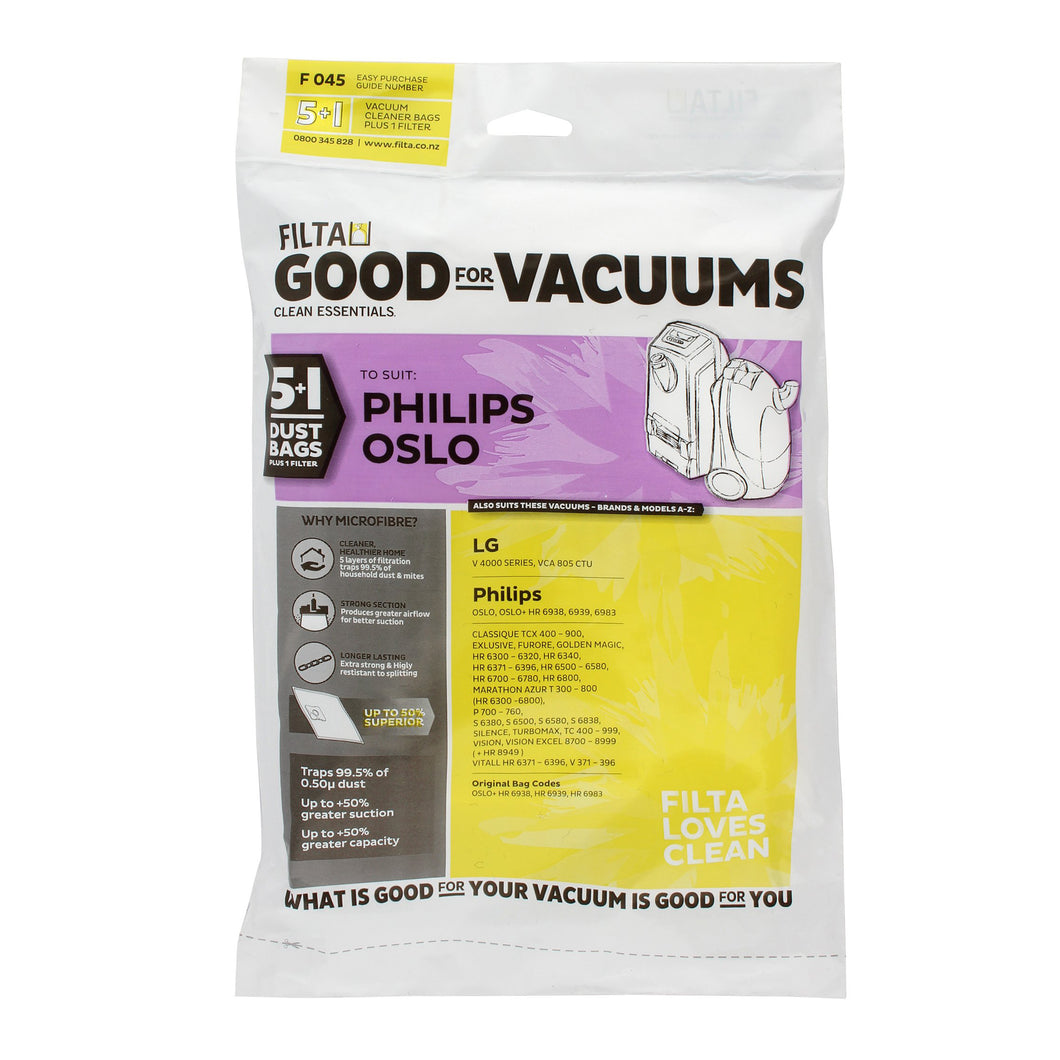 PHILIPS OSLO VACUUM DUST BAGS 5 PACK 60010 FILTA