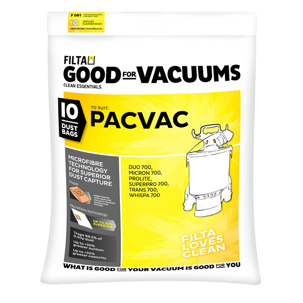 PacVac VACUUM DUST BAGS PACK OF 10 FILTA 61021 F061