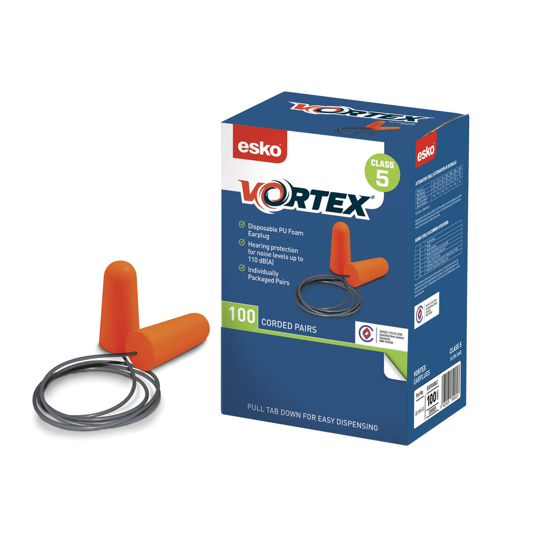 Esko Vortex Earplugs Orange Corded 100pairs DE100-OC