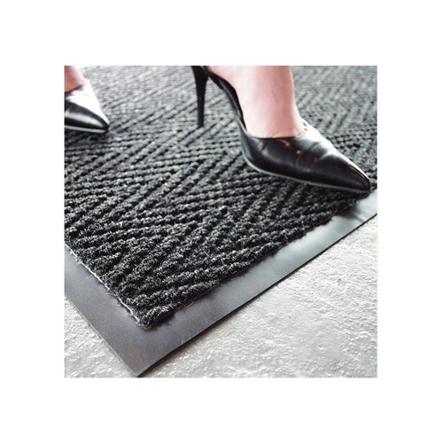 Floor Entrance Mat Super Chevron Charcoal