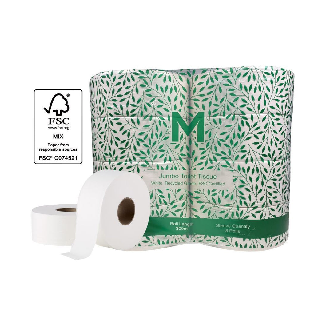Jumbo Toilet Tissue - White, 2 Ply, 300m Recycled 8 Rolls/Box MPH27265