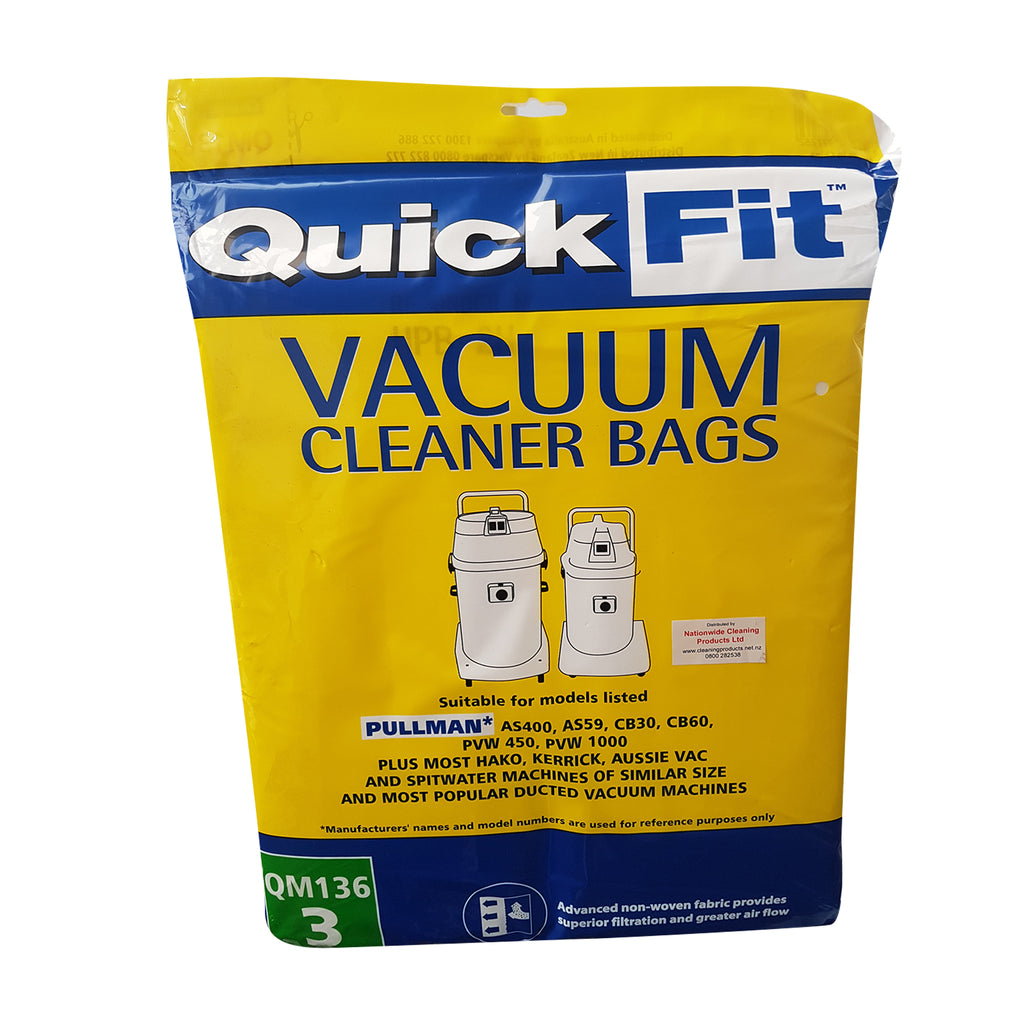 Pullman & More Central Vacuum Bags 3 pack Synthetic QM136