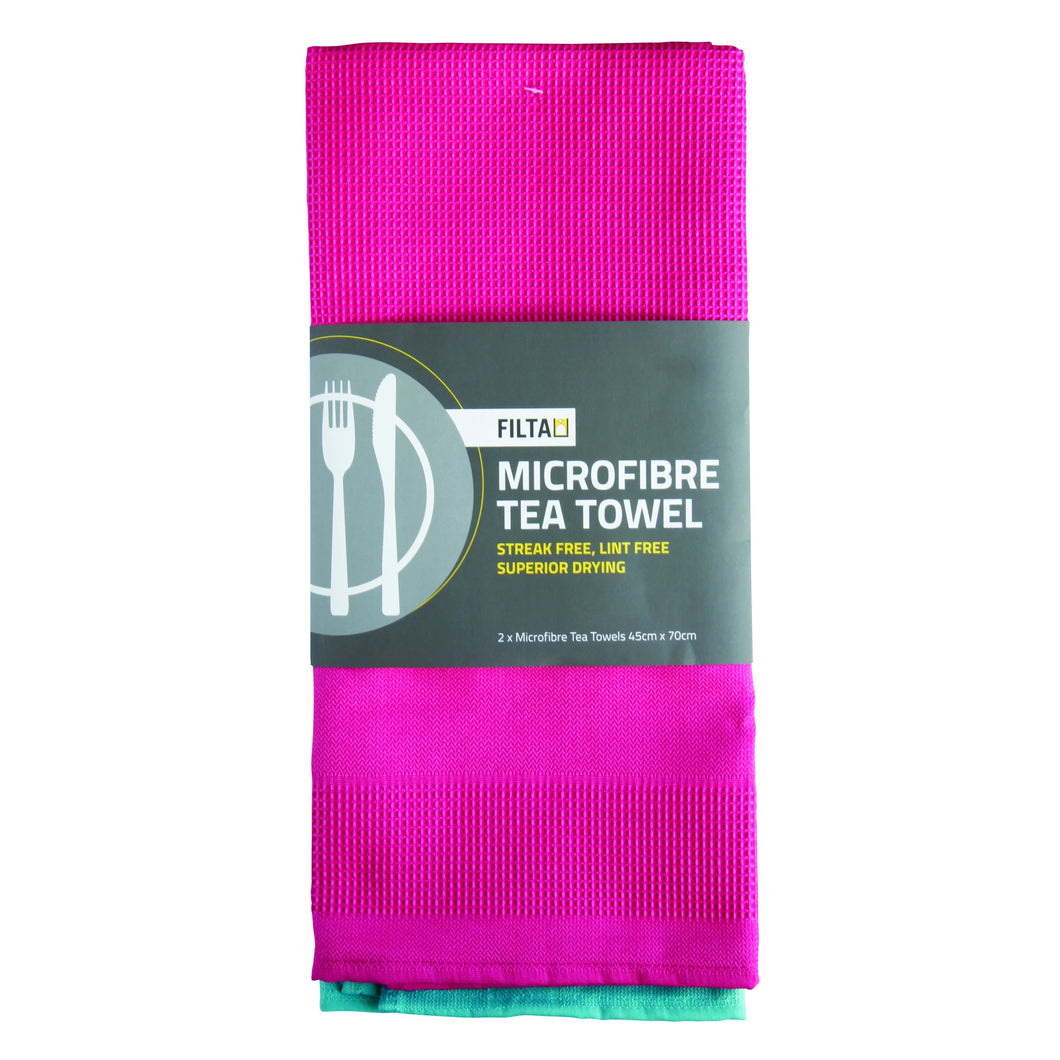 Tea Towel Microfibre 2 Pack Cerise 30059