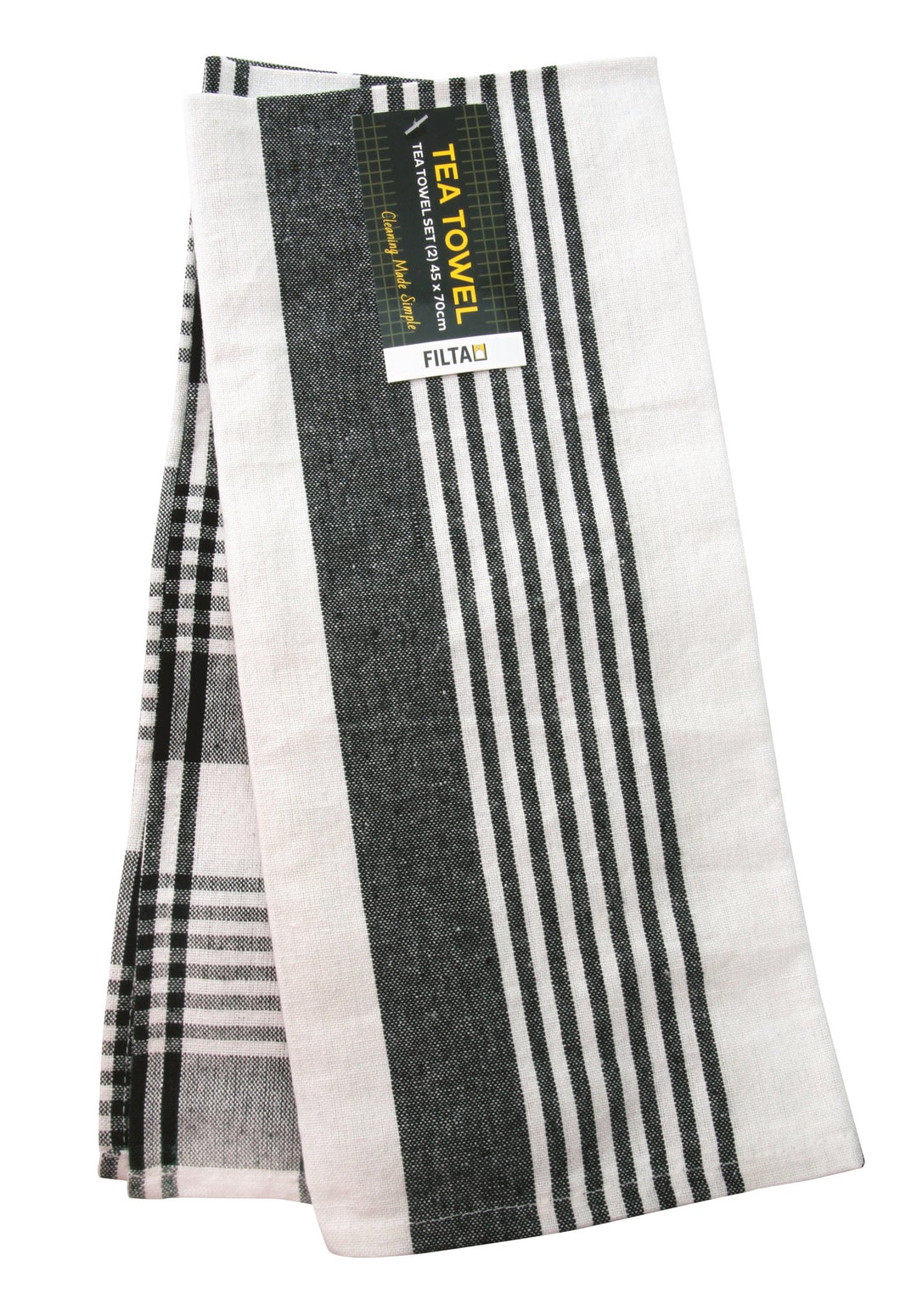 Cotton Tea Towels Black 2 pack 450 x 700mm 31001