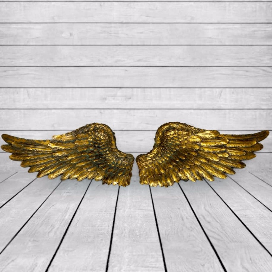 Small Antique Gold Angel Wings