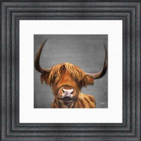 Being Idle Highland Cow Artwork Charcoal Frame