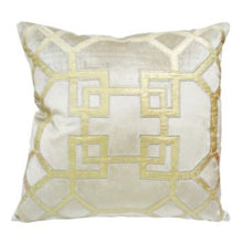 Load image into Gallery viewer, Geo Beige & Gold Velvet Cushion