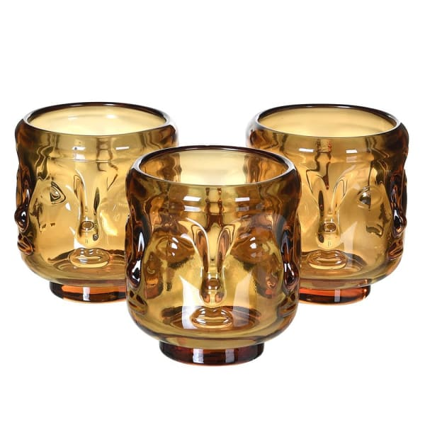 S/3 Amber Face Candle Holder