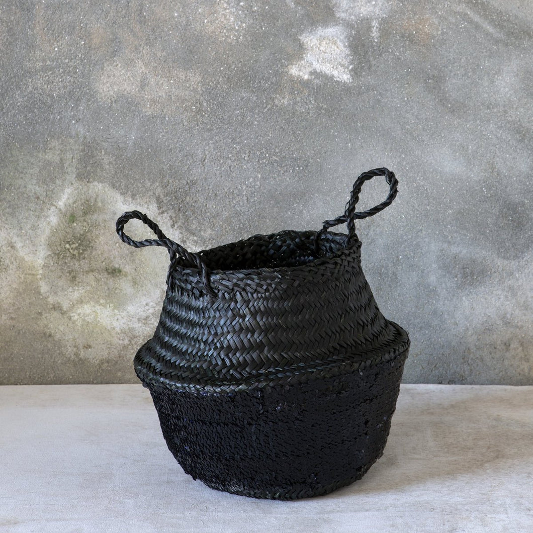 Black Sequin Basket Medium