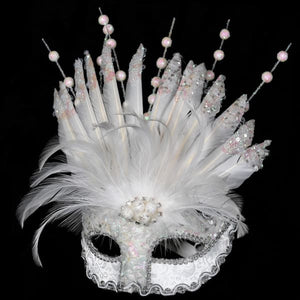 White Glitter Feather Mask