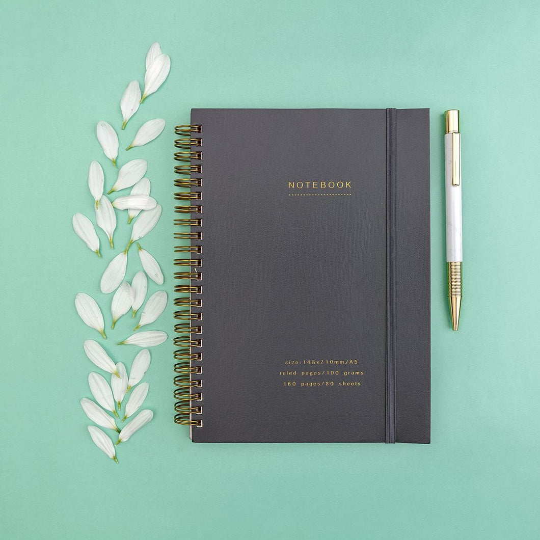 Grey & Gold Lined Notebook