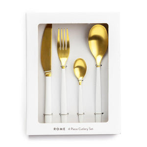Gold & White Cutlery Set