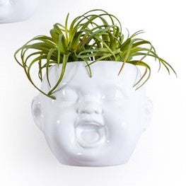 White Baby Face Wall Pot Laughing