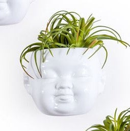 White Baby Face Wall Pot Smiling
