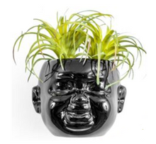 Load image into Gallery viewer, Black Baby Face Wall Pot Smiling