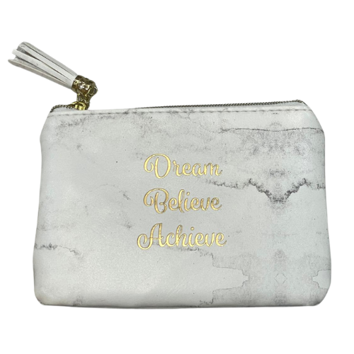 Dream Believe Achieve - Marble White Purse