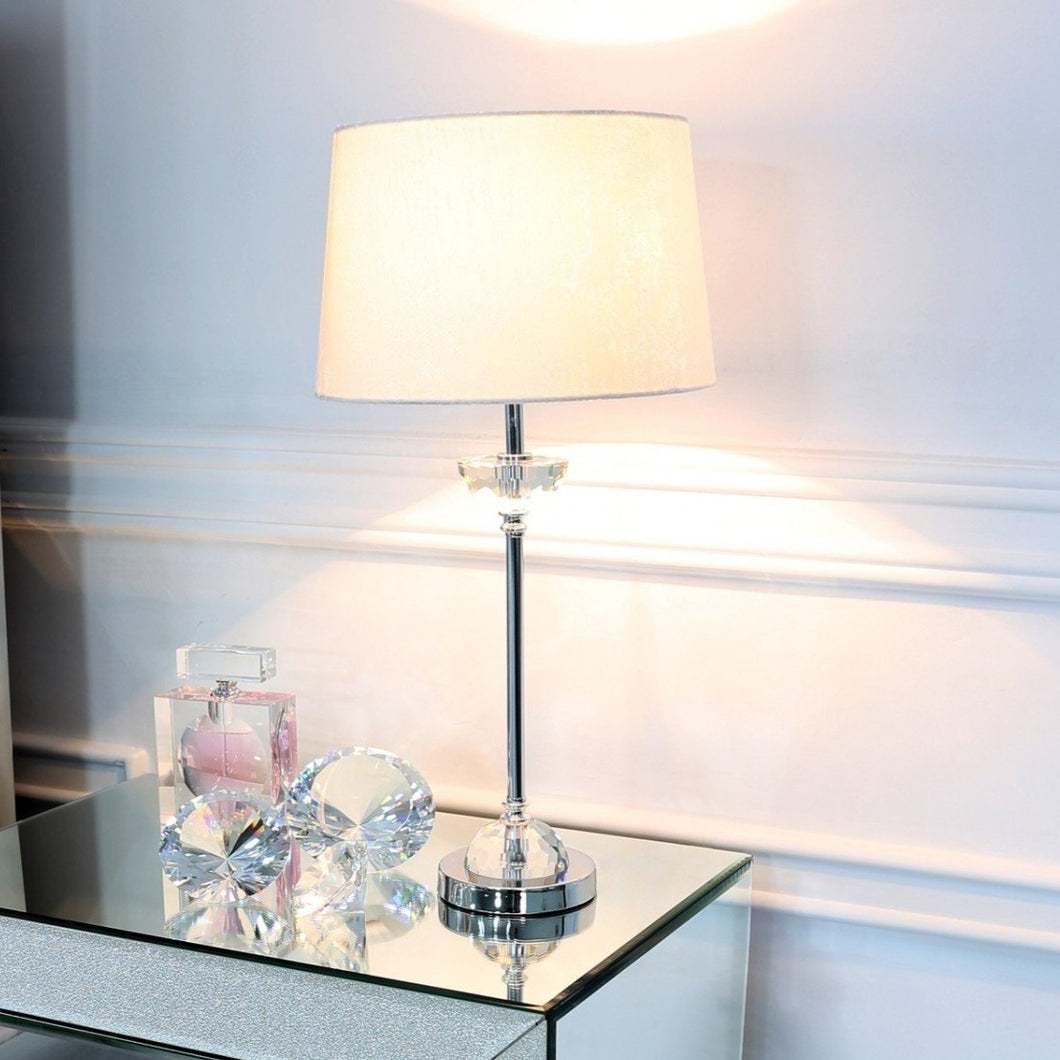 Metal & Glass Table Lamp White