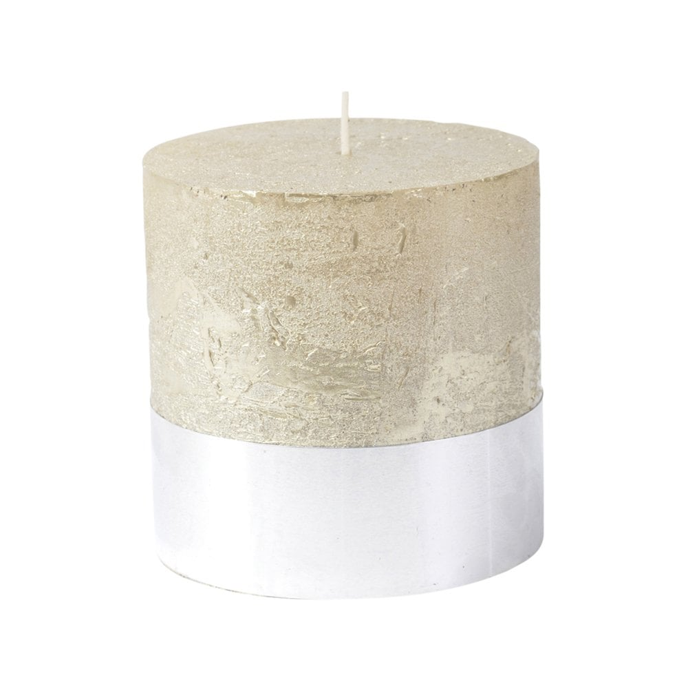 Metallic Sand Pillar Candle with Silver Base