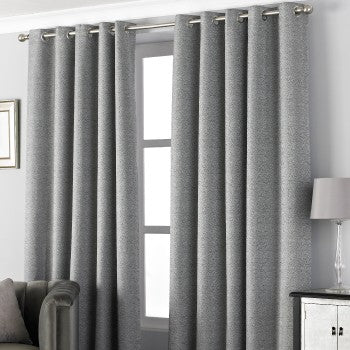 Pend Graphite Eyelet Curtains (66x90