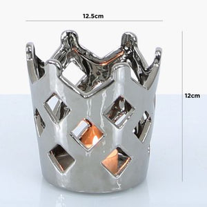 Large Silver Crown Tealight Holder