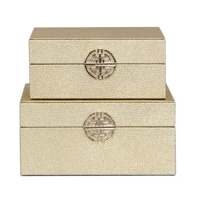 Set of 2 Gold Faux Snake Boxes