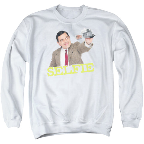 MR BEAN/SELFIE - ADULT CREWNECK SWEATSHIRT - WHITE - LG