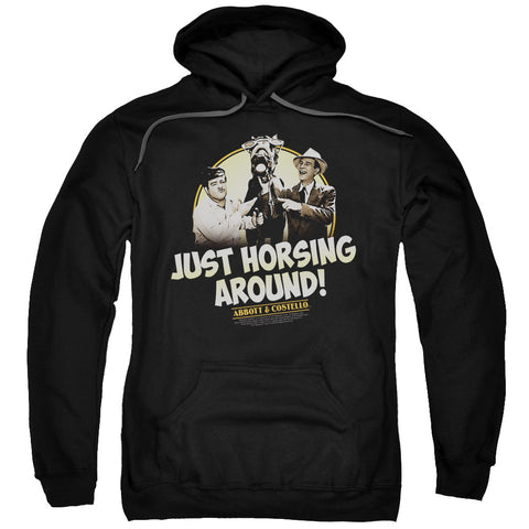 ABBOTT & COSTELLO/HORSING AROUND-ADULT PULL-OVER HOODIE-BLACK-3X