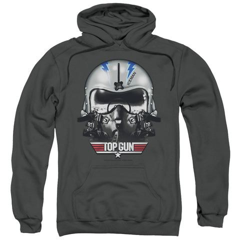 TOP GUN/ICEMAN HELMET-ADULT PULL-OVER HOODIE-CHARCOAL-SM