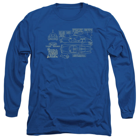 BATMAN/BATMOBILE-L/S ADULT 18/1-ROYAL BLUE-MD
