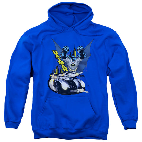BATMAN/BY AIR & BY LAND-ADULT PULL-OVER HOODIE-ROYAL BLUE-LG