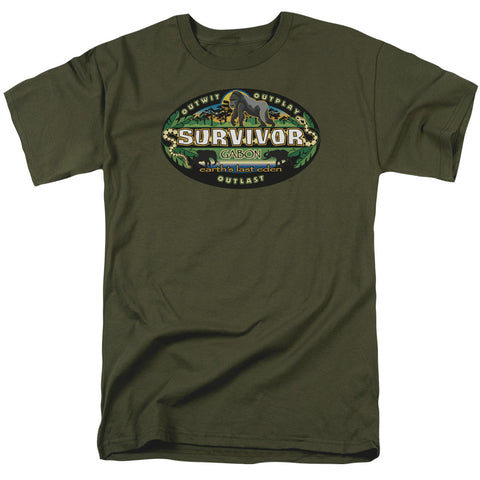 SURVIVOR/GABON LOGO-S/S ADULT 18/1-MILITARY GREEN-XL