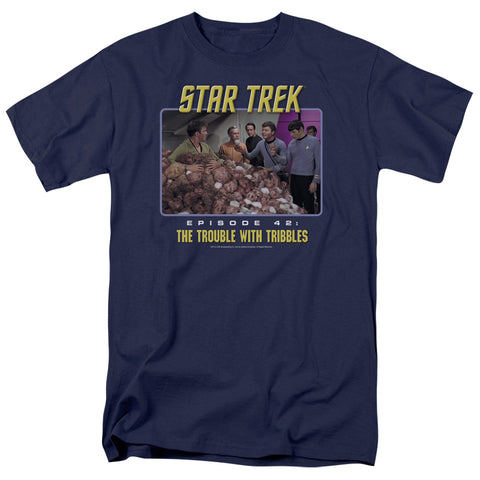 ST:ORIGINAL/THE TROUBLE WITH TRIBBLES - S/S ADULT 18/1 - NAVY - SM