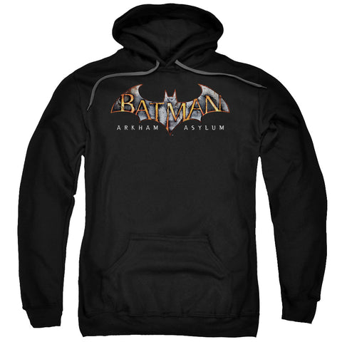 BATMAN AA/ARKHAM ASYLUM LOGO-ADULT PULL-OVER HOODIE-BLACK-MD