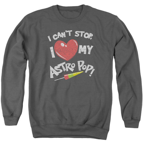 ASTRO POP/I HEART - ADULT CREWNECK SWEATSHIRT - CHARCOAL - LG