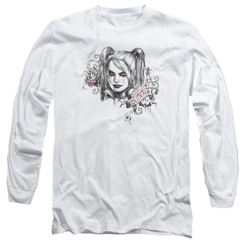 ARKHAM KNIGHT/SKETCHY GIRL-L/S ADULT 18/1-WHITE-XL
