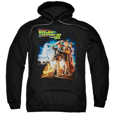 BACK TO THE FUTURE III/POSTER - ADULT PULL-OVER HOODIE - Black - SM