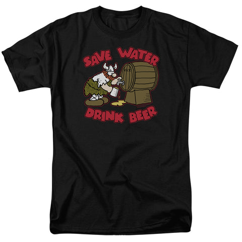 HAGAR THE HORRIBLE/SAVE WATER DRINK BEER-S/S ADULT 18/1-BLACK-2X
