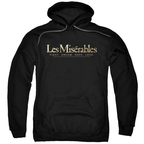 LES MISERABLES/LOGO-ADULT PULL-OVER HOODIE-BLACK-MD