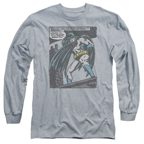 BATMAN/BAT ORIGINS-L/S ADULT 18/1-ATHLETIC HEATHER-2X