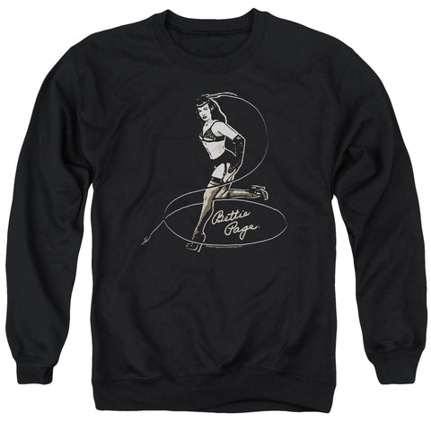 BETTIE PAGE/WHIP IT! - ADULT CREWNECK SWEATSHIRT - BLACK - MD