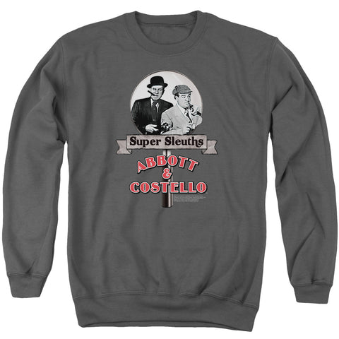 ABBOTT & COSTELLO/SUPER SLEUTHS - ADULT CREWNECK SWEATSHIRT - CHARCOAL - MD