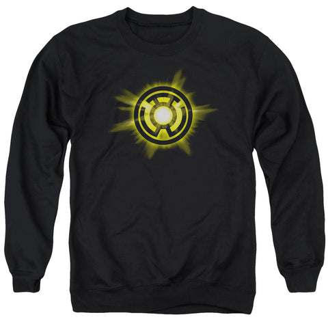 GREEN LANTERN/YELLOW GLOW - ADULT CREWNECK SWEATSHIRT - BLACK - XL