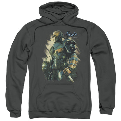 BATMAN ARKHAM ORIGINS/DEATHSTROKE-ADULT PULL-OVER HOODIE-CHARCOAL-LG