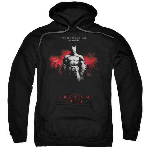ARKHAM CITY/STANDING STRONG-ADULT PULL-OVER HOODIE-BLACK-3X