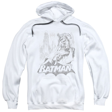 BATMAN/BAT SKETCH-ADULT PULL-OVER HOODIE-WHITE-2X