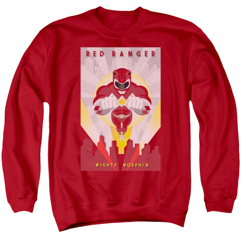 POWER RANGERS/RED DECO - ADULT CREWNECK SWEATSHIRT - RED - 2X
