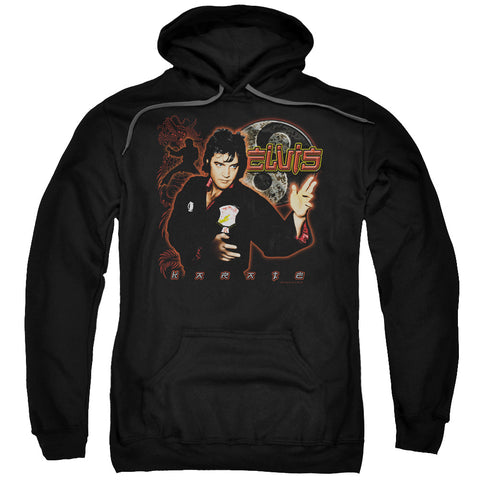 ELVIS/KARATE-ADULT PULL-OVER HOODIE-BLACK-2X