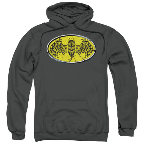 BATMAN/CELTIC SHIELD-ADULT PULL-OVER HOODIE-CHARCOAL-XL
