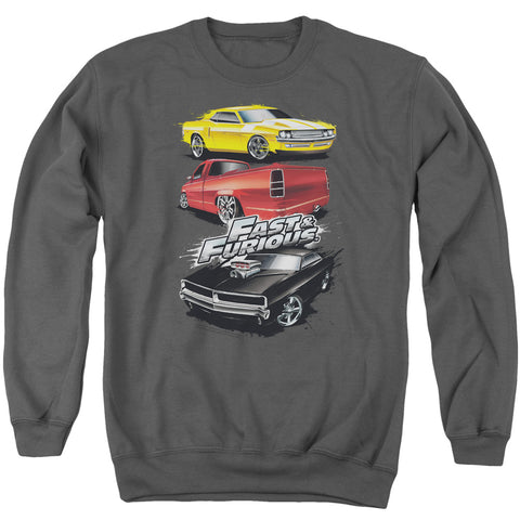 FAST AND THE FURIOUS/MUSCLE CAR SPLATTER - ADULT CREWNECK SWEATSHIRT - CHARCOAL - MD