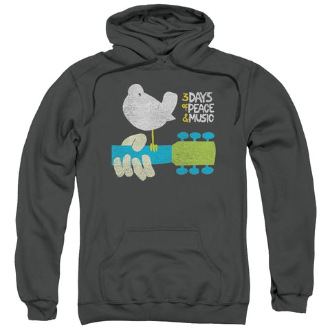 WOODSTOCK/PERCHED-ADULT PULL-OVER HOODIE-CHARCOAL-MD